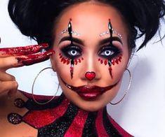 beauty, Halloween, and weeklyhearts image Clown Costume Women, Scary Clown Costume, Scary Clown Makeup, Halloween Makeup Clown, Amazing Halloween Makeup, Halloween Looks, Jester Makeup, Halloween Inspo, Halloween Night