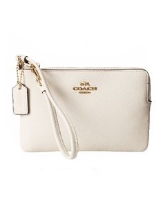 Coach White Box Program Leather Small L-Zip Wristlet