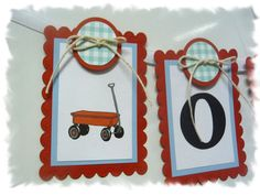 Personalized Baby Child Name Banner - Little Red Wagon Theme - 6-panel Nursery / Shower Banner - MADE TO ORDER via Etsy