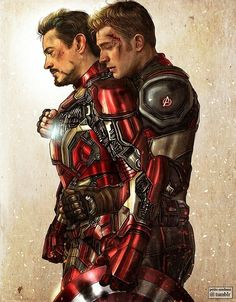 """petite-madame: """" Civil War - 2017 Present for artist friend Kleinmeli who was sad there were not enough Stony artworks out there. Here is one ♥ (Photoshop - Painter """" you are the best Please do more Stony - Visit to grab an amazing super hero shirt now on Stony Avengers, Superfamily Avengers, Stony Superfamily, Avengers Art, Spideypool, Marvel Dc Comics, Marvel Heroes, Captain Hydra, Iron Man"""