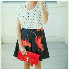 """Lobster Skirt Go down by the Bay in this Seaside Lobster skirt by Vena Cava!! So fun and playful, this skirt features red lobsters on a black background with gray polka-dots.   Dress this versatile skirt up with a polka-dot top & heels or make it causal with a t-shirt, demin jacket & statement sneakers. You can even pair it will fun leggins' and booties. This will be one of your favorite skirts!  Brand new w/tag 100%polyester Length 16"""" Size 0 Designer Viva Vena by Vena Cava Viva Vena by…"""