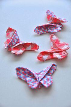 emma en mona: Origami met lapjes stof: vlindertjes