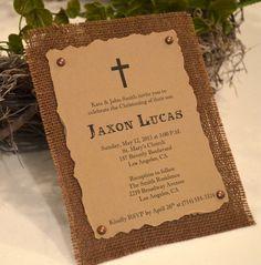 Rustic Burlap Invitations (Set of 10), Christening Invitations, Communion Invitations, Baptism Invitations