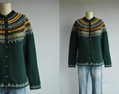 This vintage Nordic wool fair isle cardigan will keep you warm and toasty through all the chilly days ahead. Beautifully hand knit yoke pattern in