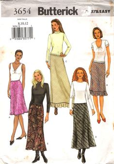 Misses'/Misses' Petite Bias Cut, Lined Skirt with Elastic Waist Sewing Pattern.