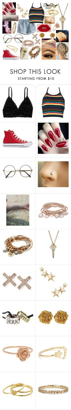 """OOTD-Friday, April 21"" by kenziebandgeek ❤ liked on Polyvore featuring Monki, MTWTFSS Weekday, Converse, ZeroUV, Marjana von Berlepsch, Lizzy James, The Giving Keys, EF Collection, Kenneth Jay Lane and Liberty"
