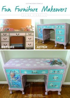 A DIY stenciled vanity using the Snowflake Stencils for a Frozen inspired theme. http://www.cuttingedgestencils.com/snowflake-stencils.html?utm_source=JCG&utm_medium=Pinterest&utm_campaign=Snowflakes%203%20pc%20kit%20Stencils