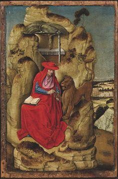 Painter from Lombardia, San Gerolamo, 1460-1470, tempera on board, Lochis collection, 1866, restoration Carlotta Beccaria, Milan, 2013