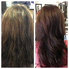 Before and after new mocha color by #lorealprofessional work by #JoLsalon