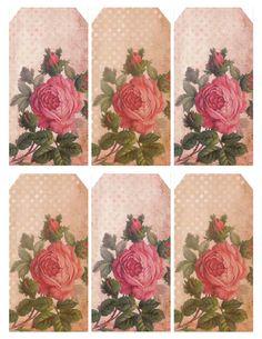 Vintage Victorian Faded Rosebuds & Polka Dots Free Printable