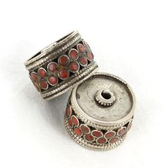 Antique Tibetan Coral Sterling Centerpiece Bead Pair from New World Gems