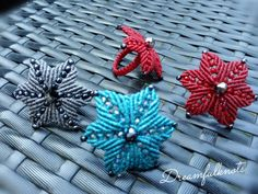 Ring flower handmade woven, many colours, unique christmas jewelry gift Christmas Jewelry, Unique Rings, Jewelry Gifts, Macrame, Colours, Shapes, Flowers, Handmade, Original Gifts
