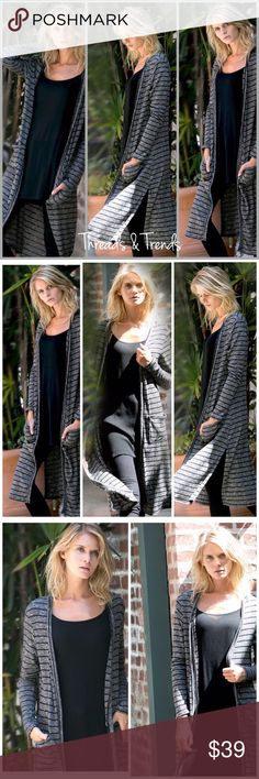 """Duster Cardigan Sweater Great staple for any wardrobe. Casual wear black striped duster cardigan. Featuring pockets. Made of knit...poly/rayon spandex blend. Size S, M, L plenty of Stretch                                     Small Bust 34"""" Length 44"""" Medium Bust 36"""" Length 44.5 Large Bust 38""""  Length 44"""" Threads & Trends Sweaters Cardigans"""