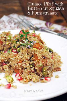 Quinoa Pilaf with Butternut Squash & Pomegranate by FamilySpice.com