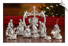 Antique Silver Nativity Set