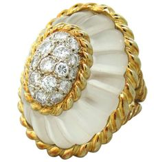 1960s Large Gold Carved Frosted Crystal Diamond Ring | 1stdibs.com