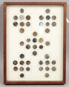 Antique-19c-Cased-Group-Metallic-Luster-Buttons-Bat-Elephant-Insects-Animals