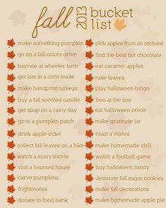 Fall Bucket List Printable - The Wood Connection Blog