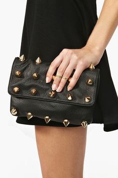 Empire Leather Clutch in Black