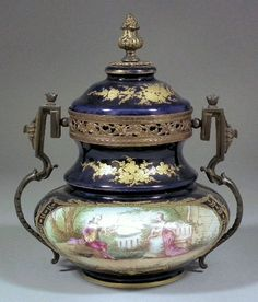 Sevres porcelain and gilt bronze mounted two-handled urn shaped jar and cover,  1846. HC