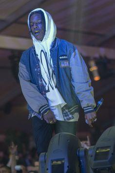 ASAP Rocky wearing Eddie Eddie by Billy Tommy Alumni Varsity Jacket, V Lone Staple Pullover Hoodie