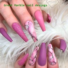 Matte Pink Marble Nails ★ We have a great photo gallery that presents you pretty nail designs. Look through our ideas and pick a design for your next visit to a beauty salon. Nails 48 Pretty Nail Designs You'll Want To Copy Immediately Marble Nail Designs, Pretty Nail Designs, Nail Art Designs, Summer Acrylic Nails, Best Acrylic Nails, Swag Nails, My Nails, Bling Nails, Water Nails