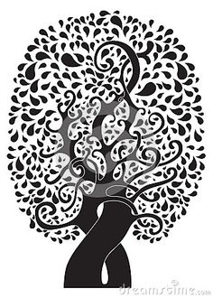 Abstract tattoo tree on white