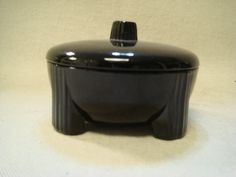 Art Deco Signed DeVilbiss Black Amethyst Glass Footed by TFSloan, $25.00