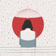 Whimsical Japanese graphic watercolour art illustration print, Tokyo  umbrella. icolori sono arte suprema http://www.artecreo.it/74-maimeri-polycolor