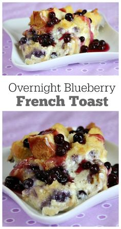 Overnight Blueberry French Toast Recipe : so easy to make the night before and pop in the oven the next morning.  A delicious breakfast casserole recipe with the surprise of blueberries and cream cheese and a lovely blueberry sauce topping.  Perfect brunch recipe for a special occasion.