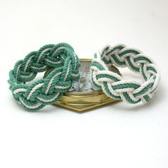 Mystic Knotwork: Sailor Knot Rope Bracelet in Green and White, Set of Two