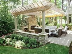 Gorgeous outdoor seating with fireplace.