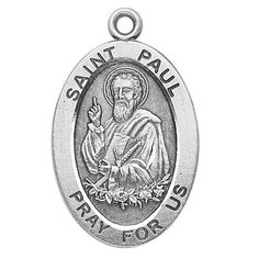 "Sterling Silver Oval Medal Necklace Patron Saint St. Paul with 20"" Chain in Gift Box by HMHRegina, http://www.amazon.com/dp/B003QI23DK/ref=cm_sw_r_pi_dp_3TJSpb016KWCE"