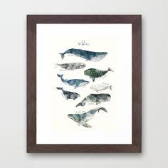 Whales Framed Art Print by Amy Hamilton