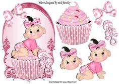 Cute baby pink cupcake with her rattle on a plaque on Craftsuprint - Add To Basket!