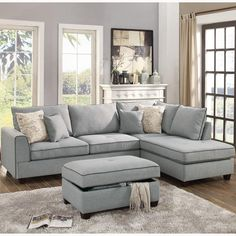 3 pc Cleveland collection light grey woven fabric upholstered sectional sofa couch with reversible chaise and storage ottoman Sectional Living Room Small, Sectional Living Room Layout, Small Sectional Sofa, Living Room Designs, Living Decor, Gray Sectional Living Room, Sectional Sofas Living Room, Grey Sectional Sofa, Living Room Furniture Layout