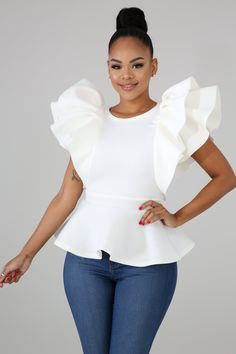 This peplum top features, a stretchy fabric, round neckline sleeveless, finished with a back zipper closure. Model is wearing a small Hand wash cold water Do not bleach MODEL STATS Height: / / Peplum Top Outfits, White Shirt Outfits, Stylish Outfits, Fashion Outfits, Stylish Clothes, Ladies Fashion, Fashion Shoes, Fashion Trends, White Peplum Tops