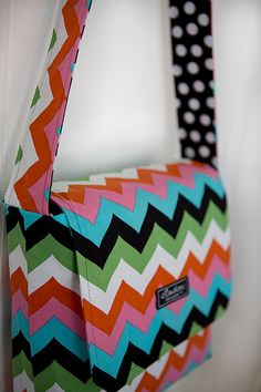 Multi Chevron Messenger Bag by ElisaLou on Etsy, $65.00