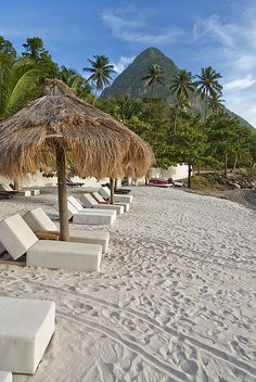 Jalousie Plantion Beach - St Lucia. I'm so there...even if it's in my mind