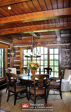 Breakfast Nook | Log & Timber Hybrid Home by PrecisionCraft by PrecisionCraft Log Homes & Timber Frame, via Flickr