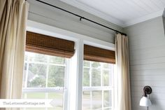 In my next house, I think I may forgo the white wood blinds and go with bamboo.they look so sharp against the white trim. Blinds : Home Depot Curtain : Ikea Lenda Bedroom Curtains With Blinds, Curtains Living, Family Room Curtains, Neutral Curtains, Ikea Curtains, Guest Bedroom Home Office, Guest Bedrooms, Bedroom Decor, Guest Room