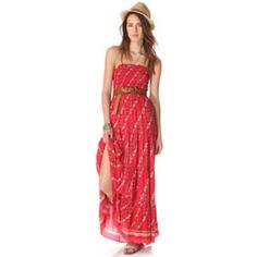 Free People Easy Come Easy Go Dress Patterned sleeveless maxi tube dress with removable adjustable spaghetti straps. Smocked bodice and tiered skirt bottom. 100% Rayon. Machine Washable. Worn a few times (a little long for me). In great condition. Free People Dresses