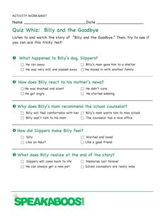 Quiz Whiz: Billy and the Goodbye | Speakaboos #Worksheets #quiz #education #kids
