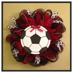 Red & Black Mesh Soccer Wreath  I typically charge $40-$45 for these.