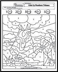 my free preschool math worksheets will help teach counting numbers and problem solving in exciting ways each is fun to color and full of activity ideas - Volcano Coloring Pages