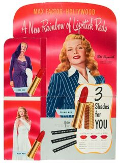A Max Factor store display ad with Rita Hayworth, 1947 Vintage Makeup Ads, Retro Makeup, Vintage Beauty, Vintage Ads, Vintage Display, Mod Makeup, Poster Vintage, Vintage Glamour, Golden Age Of Hollywood