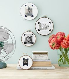 These embroidery-hoop photo frames are cute way to DIY your decor.