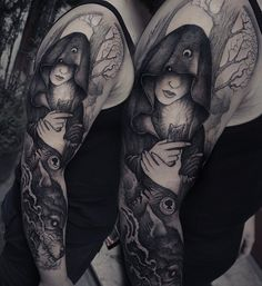 Red riding hood sleeve in progress. Thank you Fabian. @rookletink #h2oceanproteam #kwadron