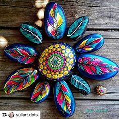 #Repost @yuliart.dots  #YuliaArtDots #paintedstones #pebbles #stones #feathers #painted rocks #dots #dotart #myart #dowhatyoulovewithpassion #art #myart