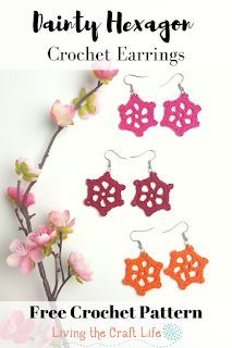 Living the Craft Life: Dainty Hexagon Earrings Crochet Thread Size 10, Love Crochet, Crochet Gifts, Crochet Flowers, Crochet Jewelry Patterns, Crochet Earrings Pattern, Crochet Accessories, Crochet Jewellery, Crochet Thread Patterns
